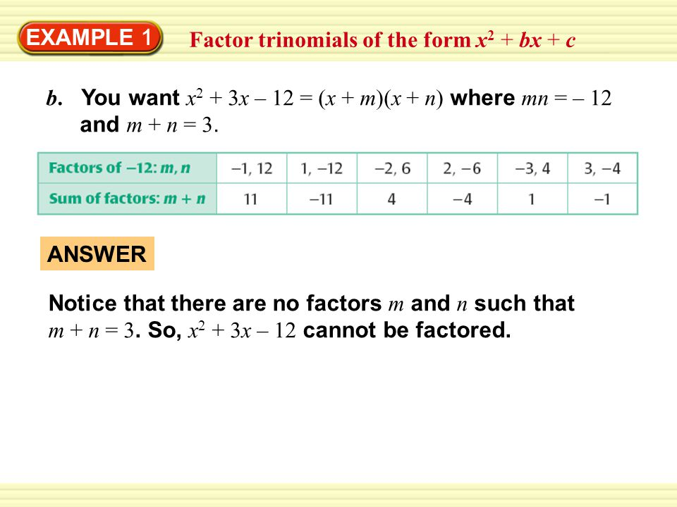 EXAMPLE 1 Factor trinomials of the form x2 + bx + c. b. You want x2 + 3x – 12 = (x + m)(x + n) where mn = – 12 and m + n = 3.