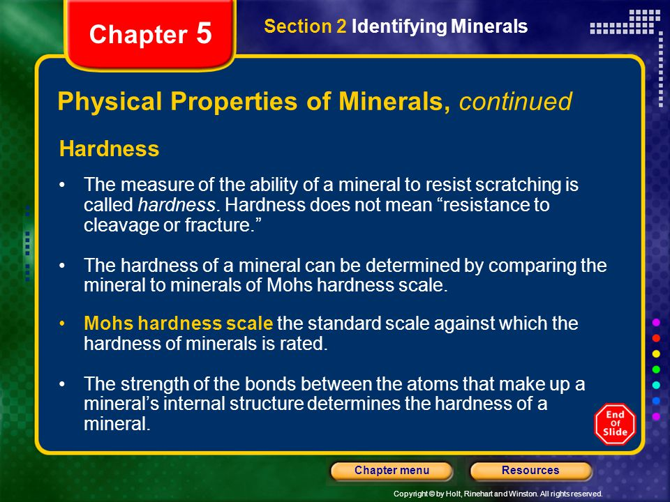 Physical Properties of Minerals, continued