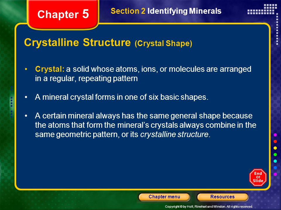 Crystalline Structure (Crystal Shape)