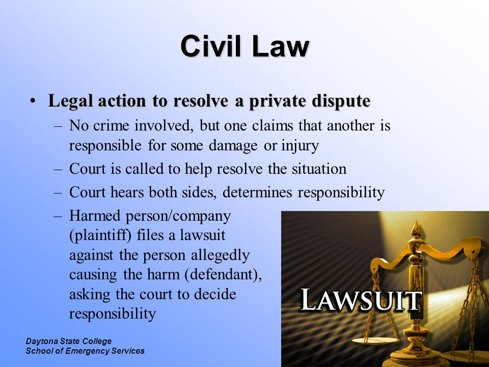 Civil Law Legal action to resolve a private dispute