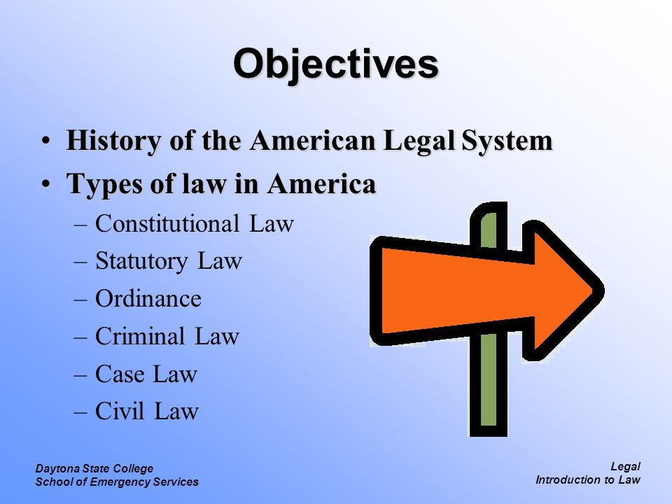 Objectives History of the American Legal System