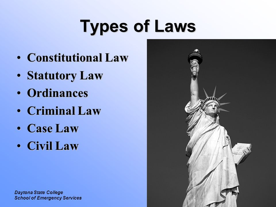 Types of Laws Constitutional Law Statutory Law Ordinances Criminal Law