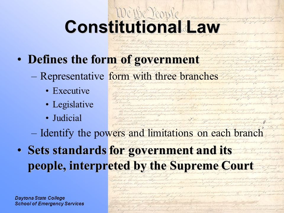 Constitutional Law Defines the form of government