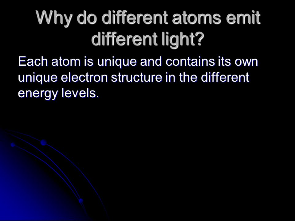 Why do different atoms emit different light