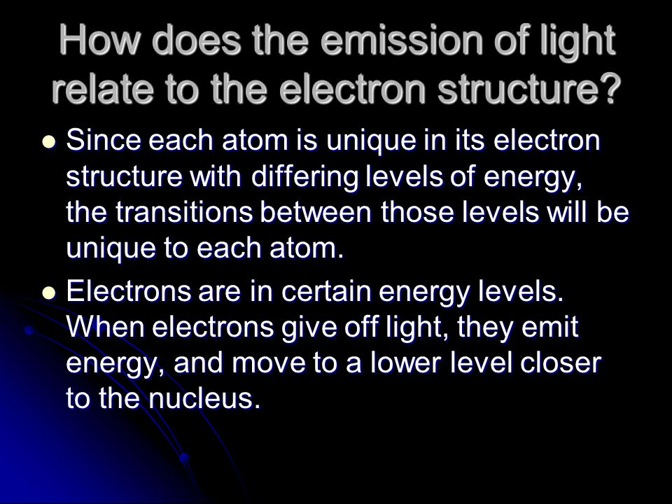 How does the emission of light relate to the electron structure