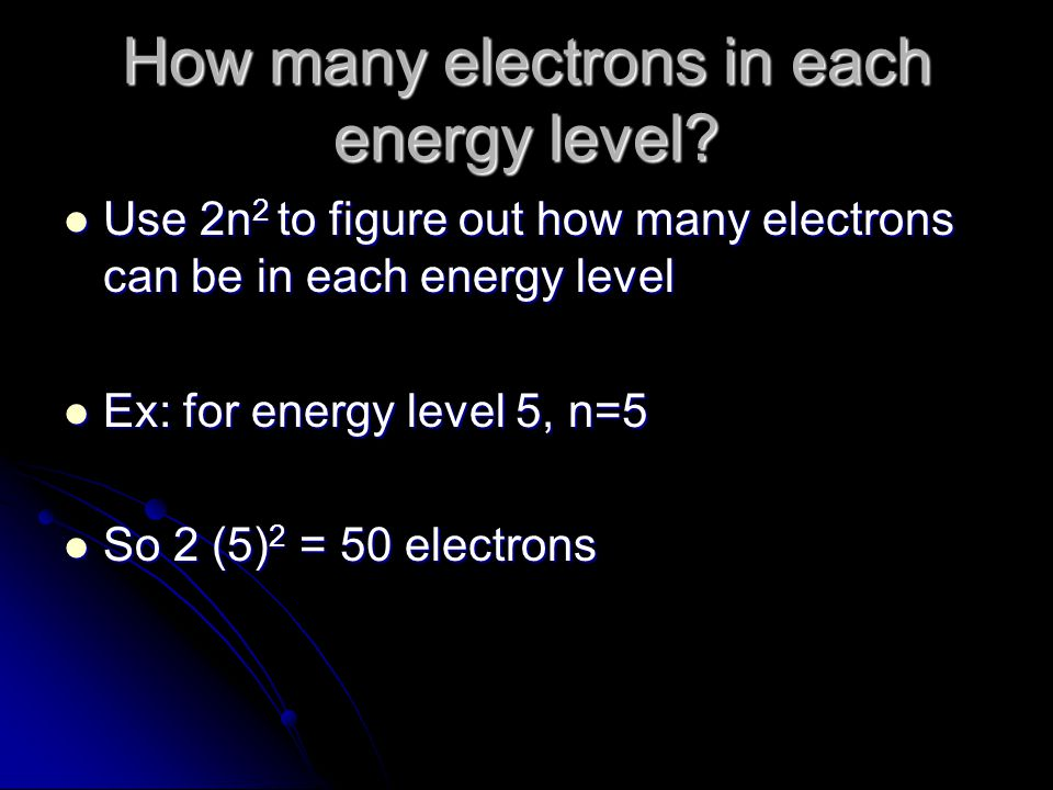 How many electrons in each energy level
