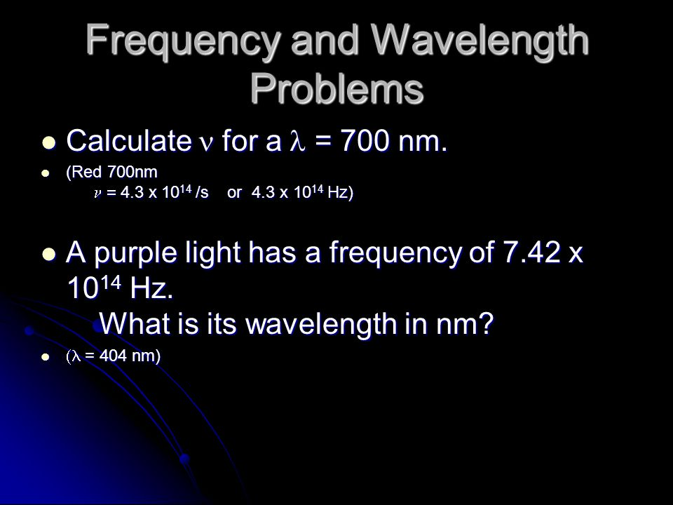 Frequency and Wavelength Problems