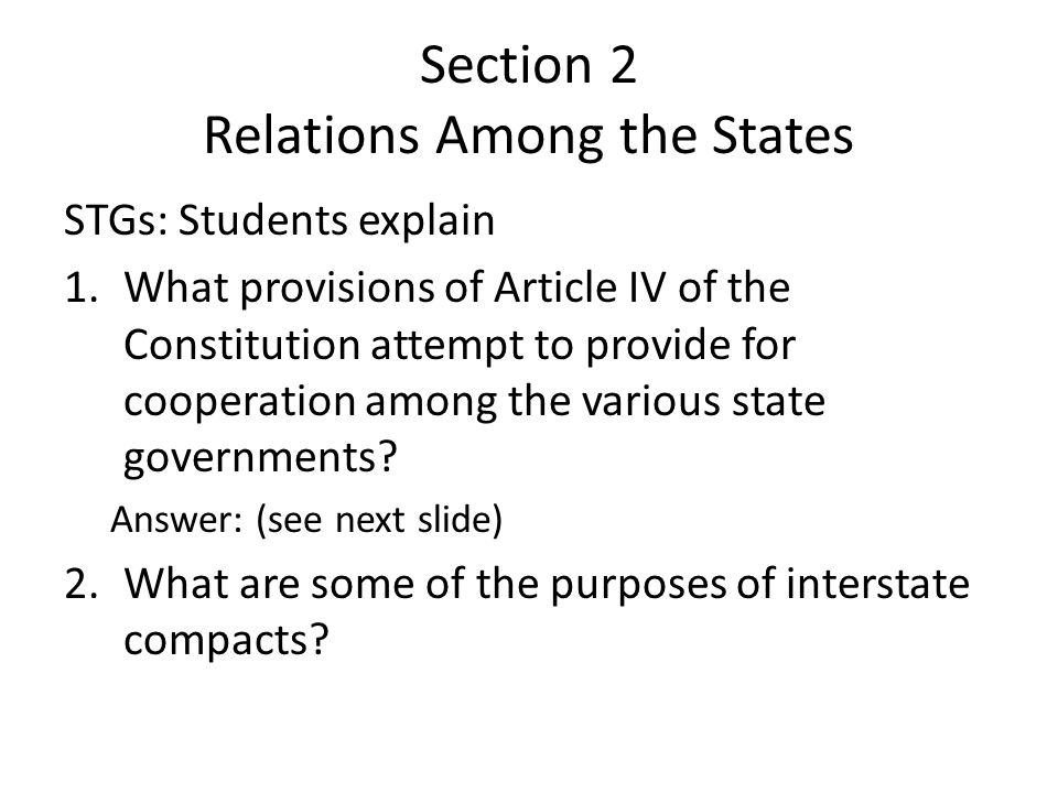 Section 2 Relations Among the States