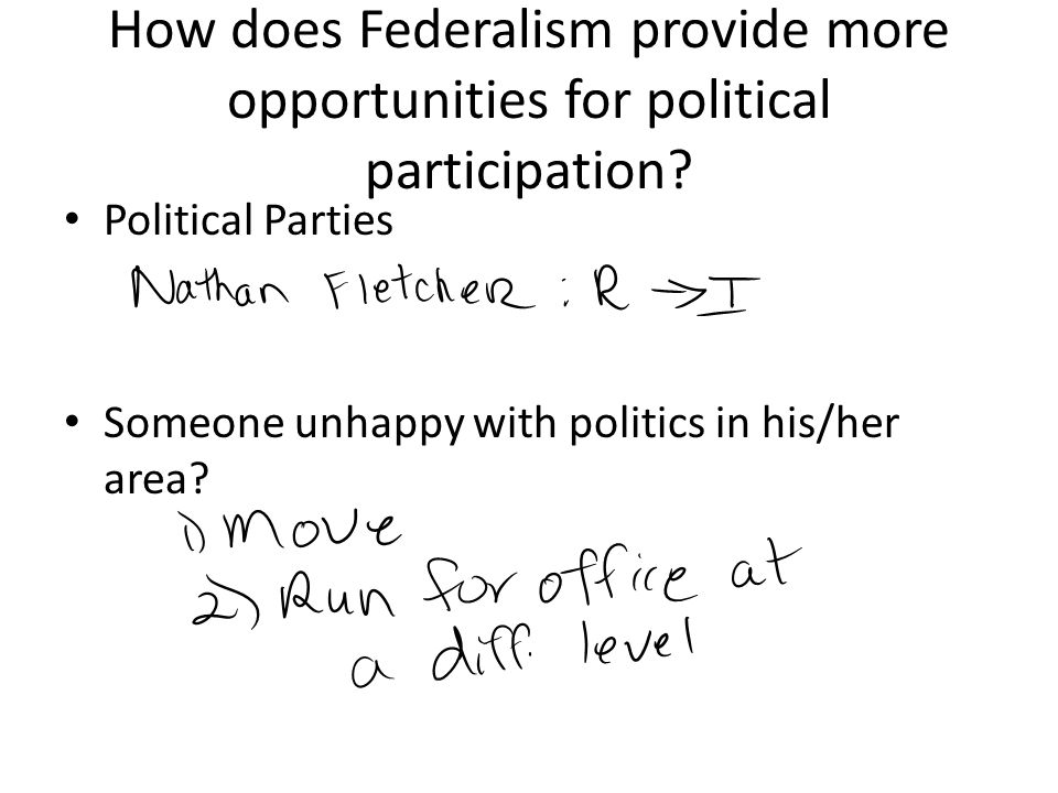 How does Federalism provide more opportunities for political participation
