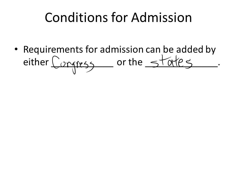 Conditions for Admission