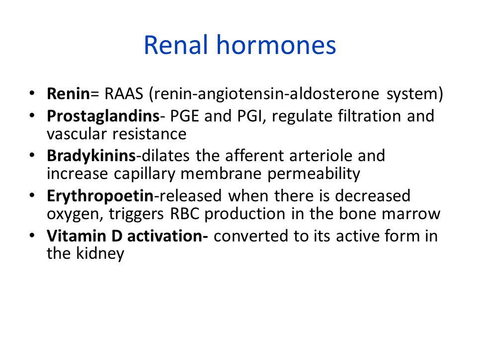 Renal hormones Renin= RAAS (renin-angiotensin-aldosterone system)