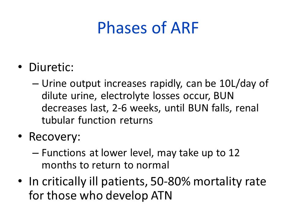 Phases of ARF Diuretic: Recovery: