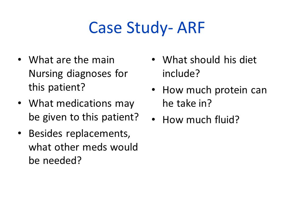 Case Study- ARF What are the main Nursing diagnoses for this patient