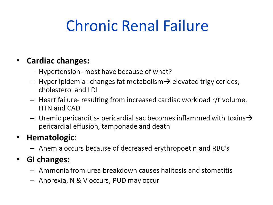 Chronic Renal Failure Cardiac changes: Hematologic: GI changes: