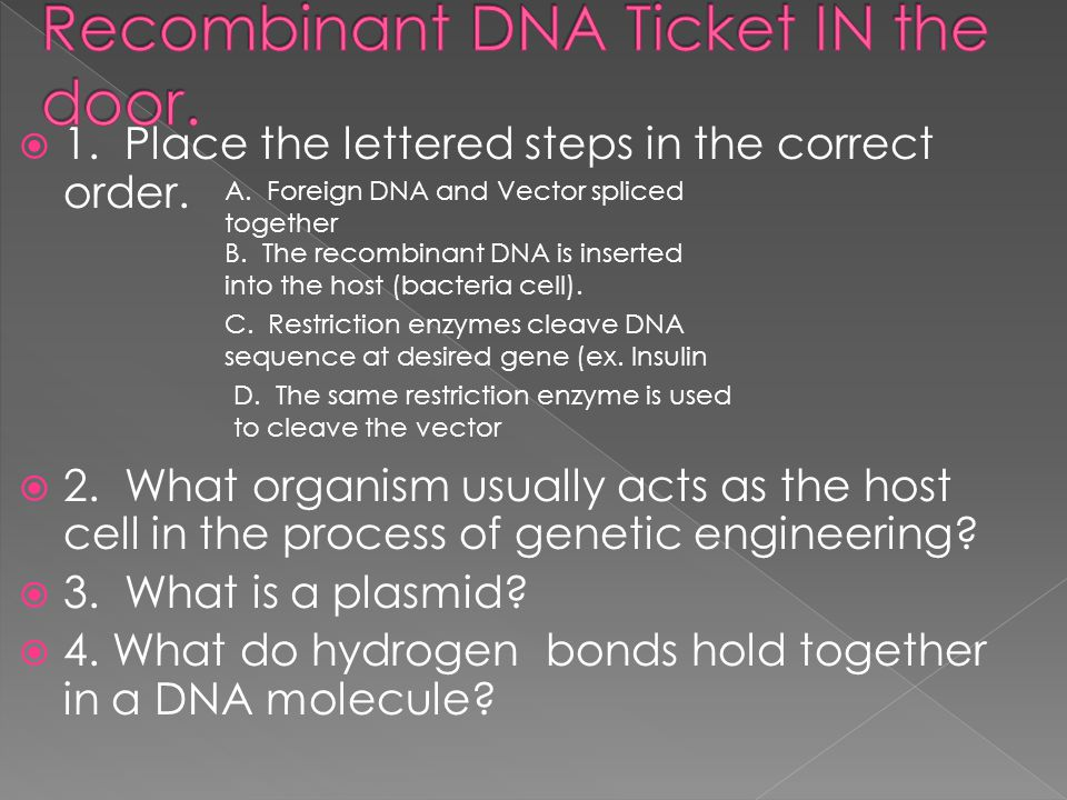 Recombinant DNA Ticket IN the door.