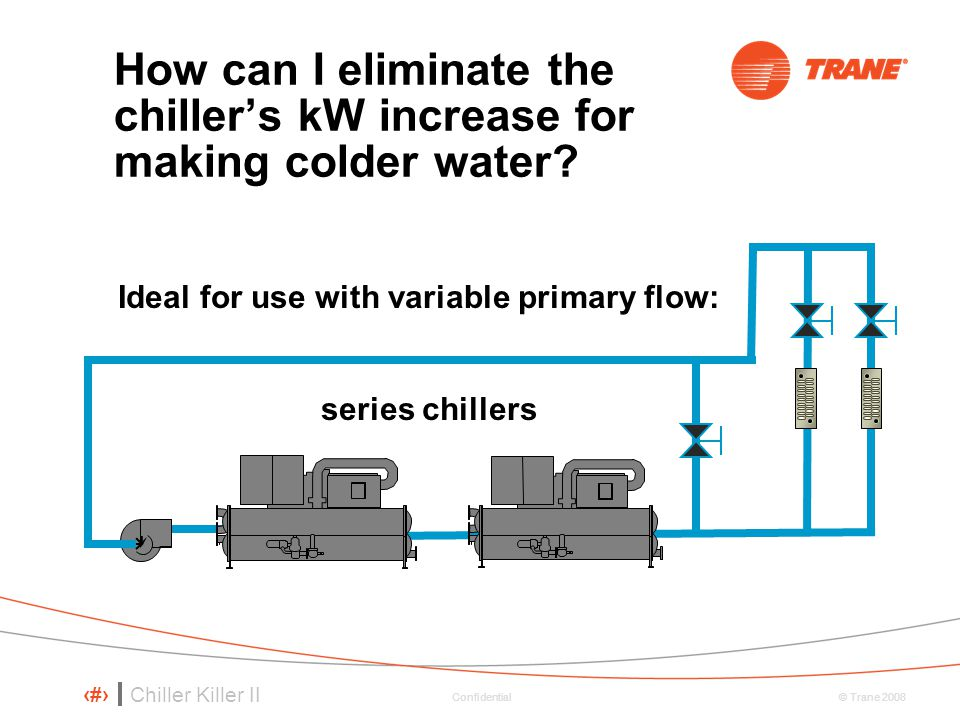How can I eliminate the chiller's kW increase for making colder water