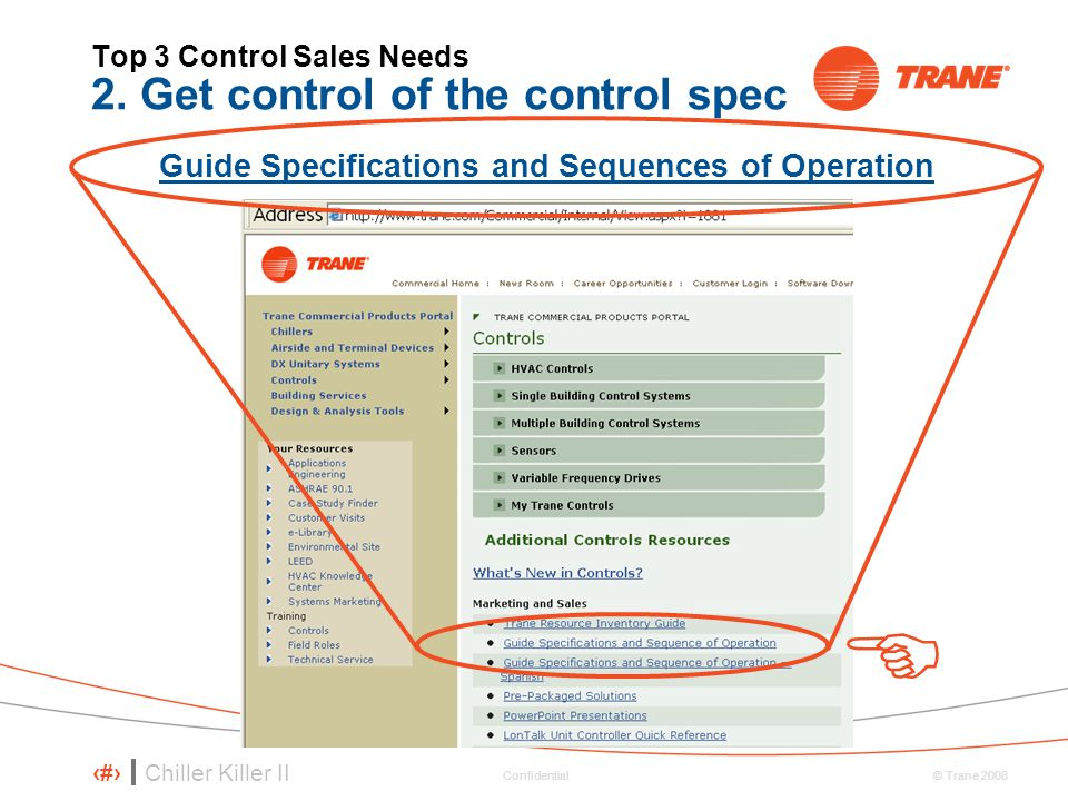 Top 3 Control Sales Needs 2. Get control of the control spec