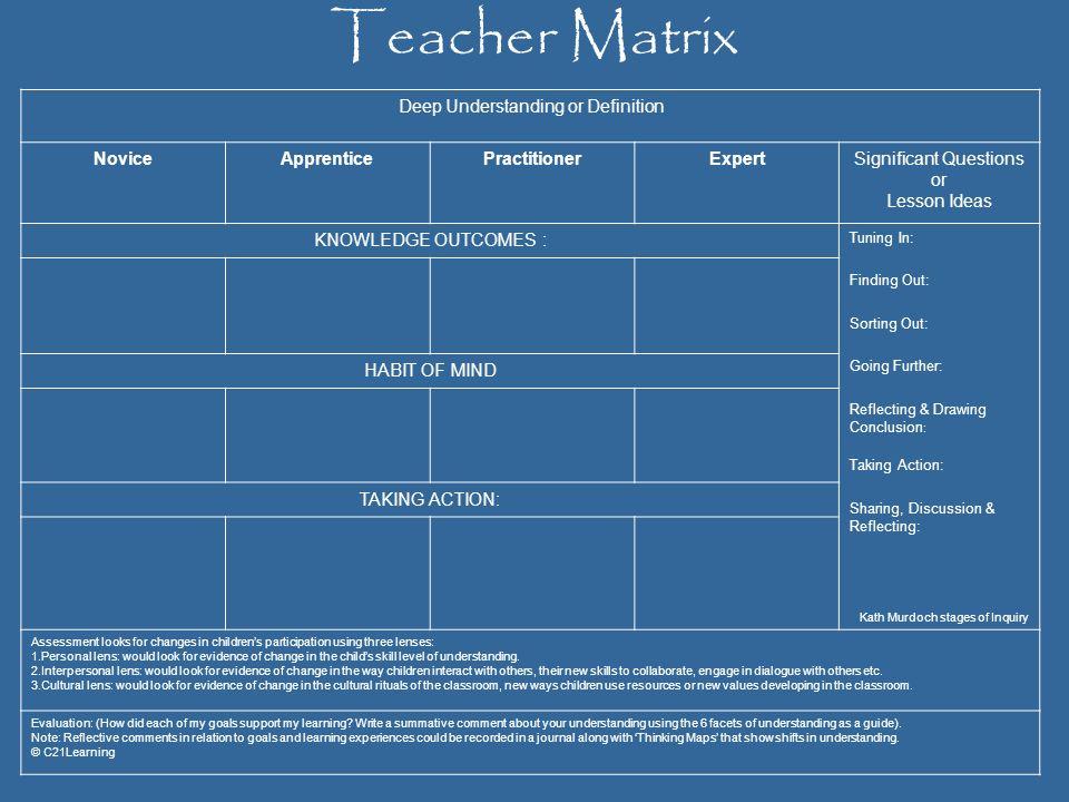 Teacher Matrix Deep Understanding or Definition Novice Apprentice