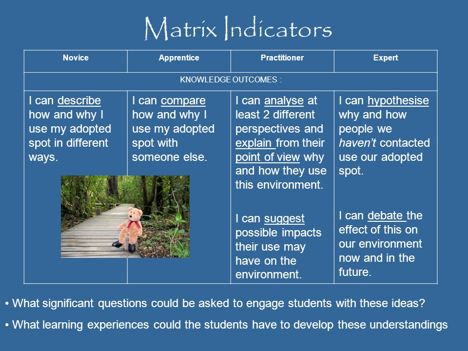 Matrix IndicatorsNovice. Apprentice. Practitioner. Expert. KNOWLEDGE OUTCOMES : I can describe how and why I use my adopted spot in different ways.