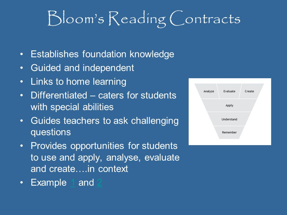 Bloom's Reading Contracts