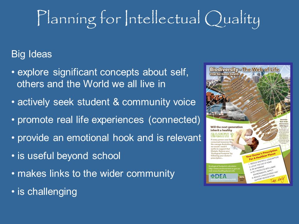 Planning for Intellectual Quality