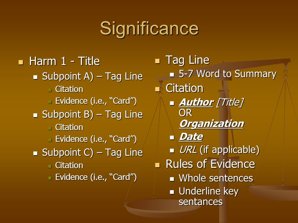 Significance Harm 1 - Title Tag Line Citation Rules of Evidence