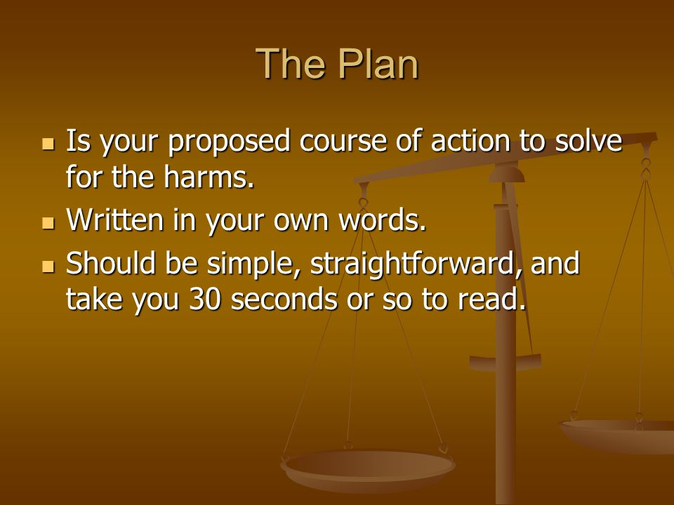 The Plan Is your proposed course of action to solve for the harms.