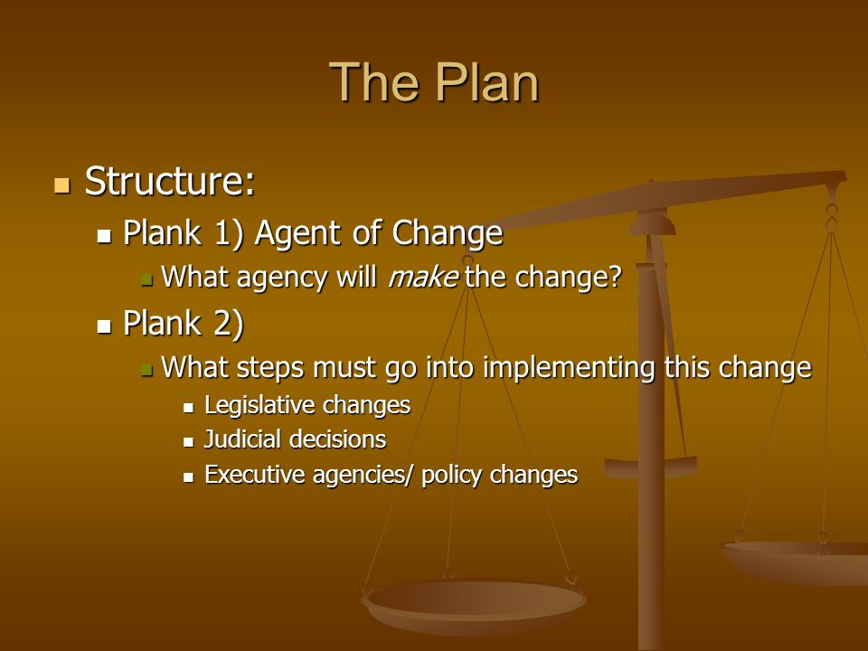 The Plan Structure: Plank 1) Agent of Change Plank 2)