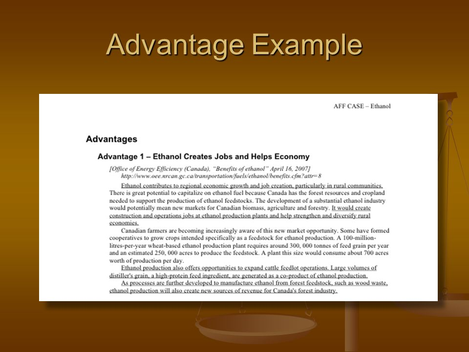 Advantage Example