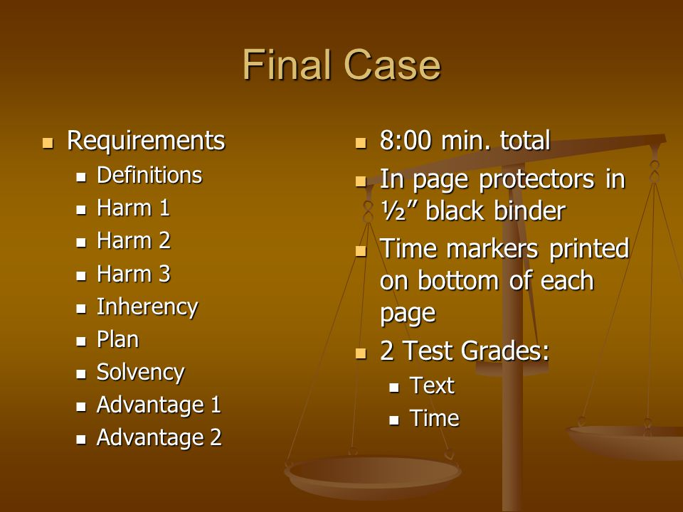 Final Case Requirements 8:00 min. total