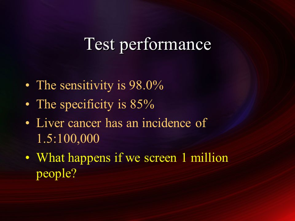 Test performance The sensitivity is 98.0% The specificity is 85%