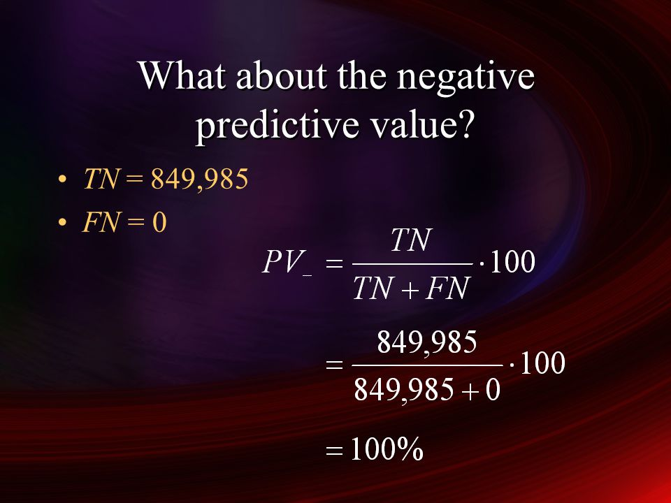 What about the negative predictive value
