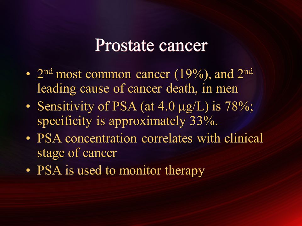 Prostate cancer 2nd most common cancer (19%), and 2nd leading cause of cancer death, in men.