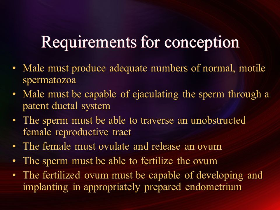 Requirements for conception