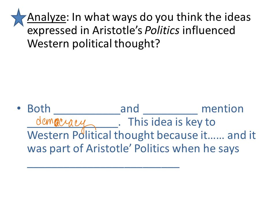 Analyze: In what ways do you think the ideas expressed in Aristotle's Politics influenced Western political thought