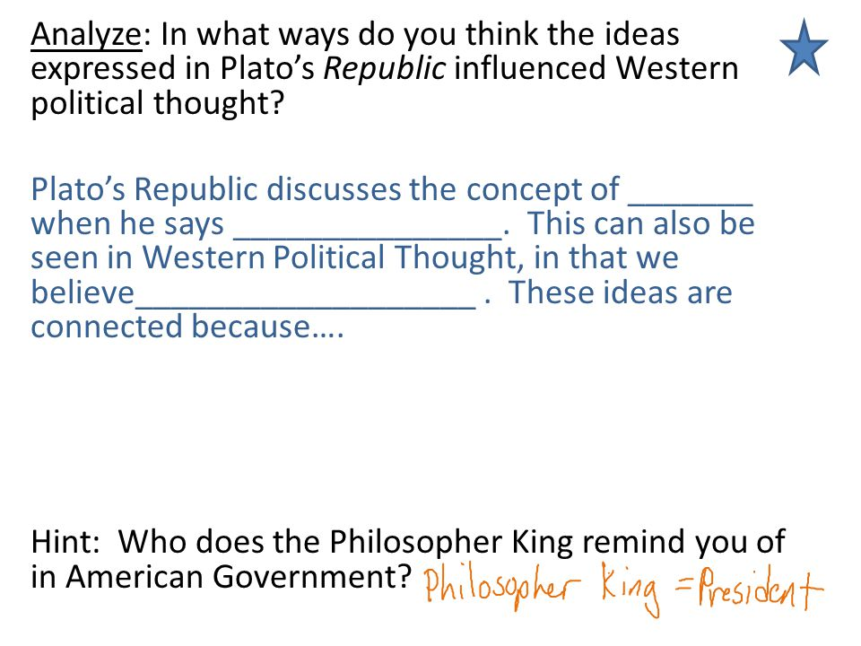 Analyze: In what ways do you think the ideas expressed in Plato's Republic influenced Western political thought.