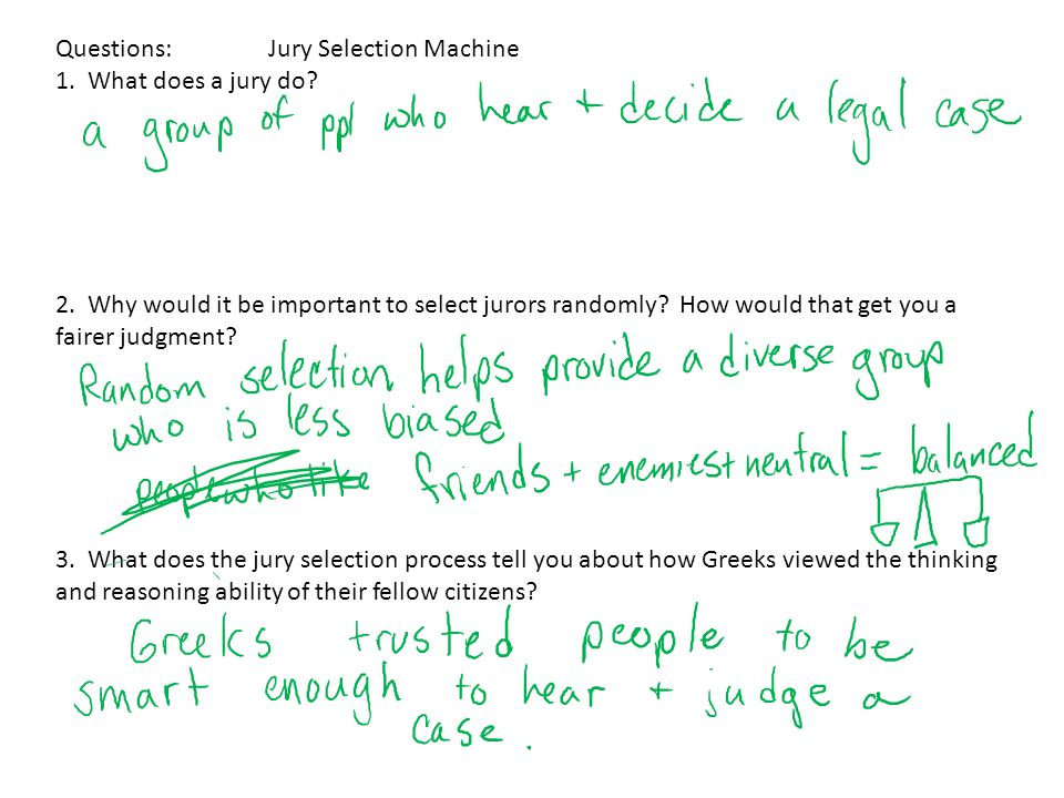 Questions: Jury Selection Machine