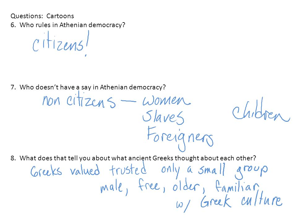 Questions: Cartoons 6. Who rules in Athenian democracy 7. Who doesn't have a say in Athenian democracy