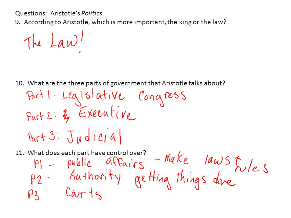 Questions: Aristotle's Politics