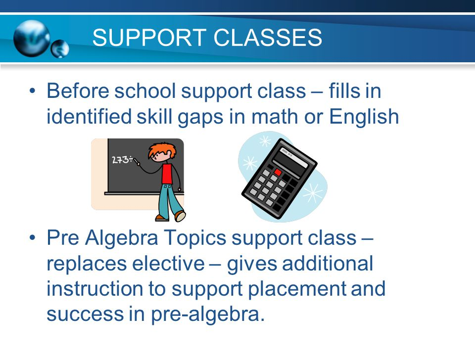 SUPPORT CLASSES Before school support class – fills in identified skill gaps in math or English.