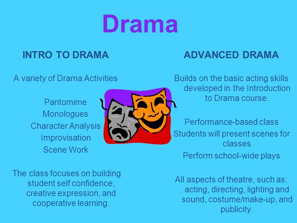 Drama INTRO TO DRAMA ADVANCED DRAMA A variety of Drama Activities