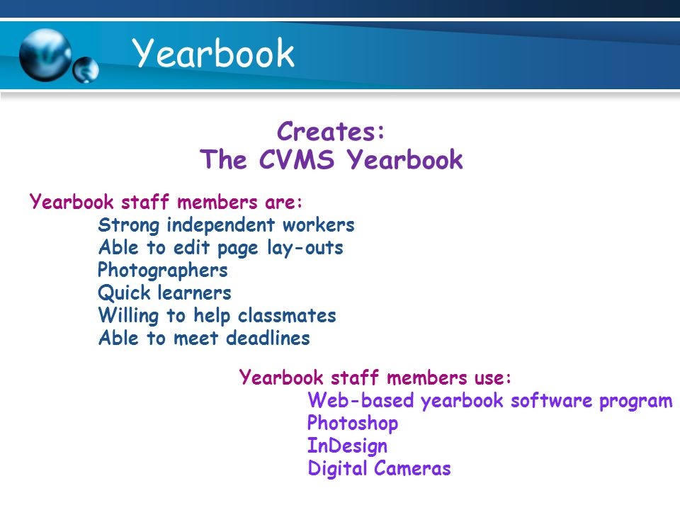 Creates: The CVMS Yearbook