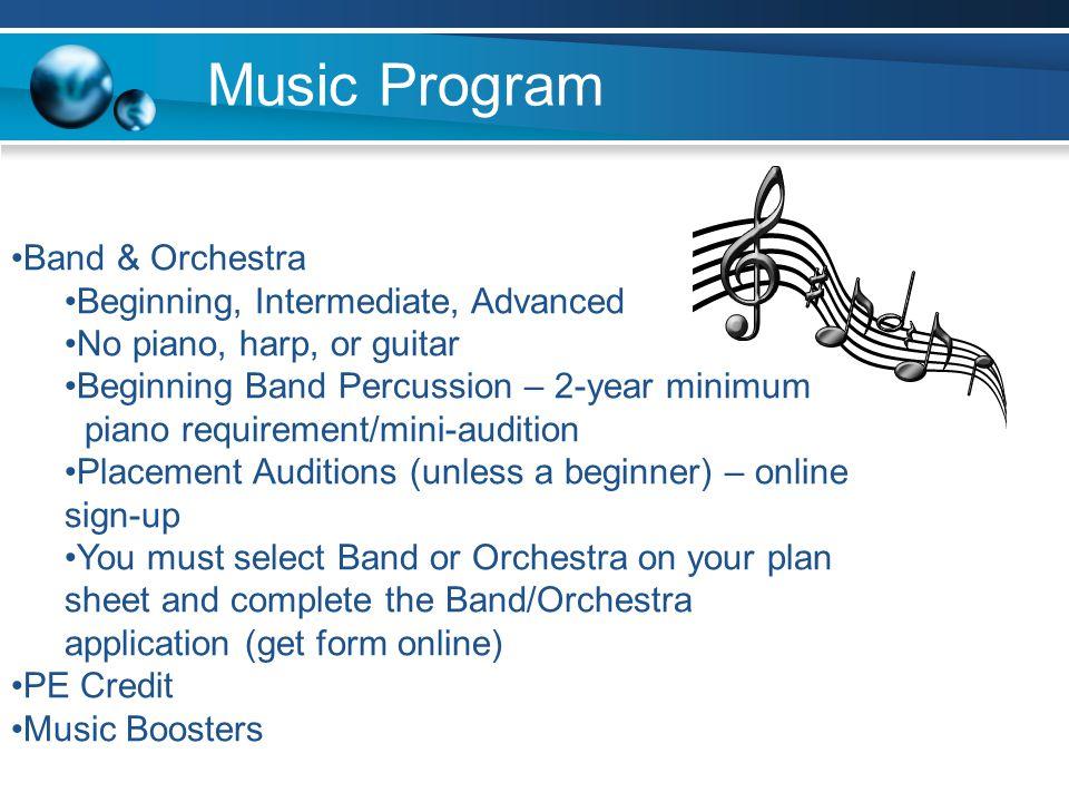 Music Program Band & Orchestra Beginning, Intermediate, Advanced