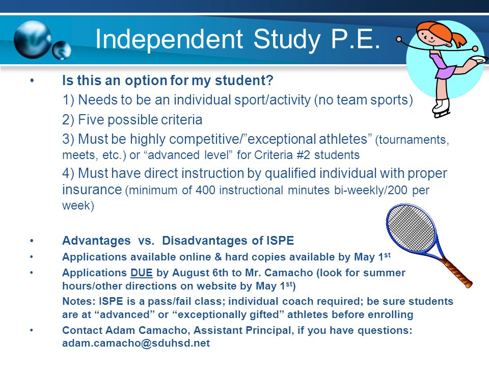 Independent Study P.E. Is this an option for my student