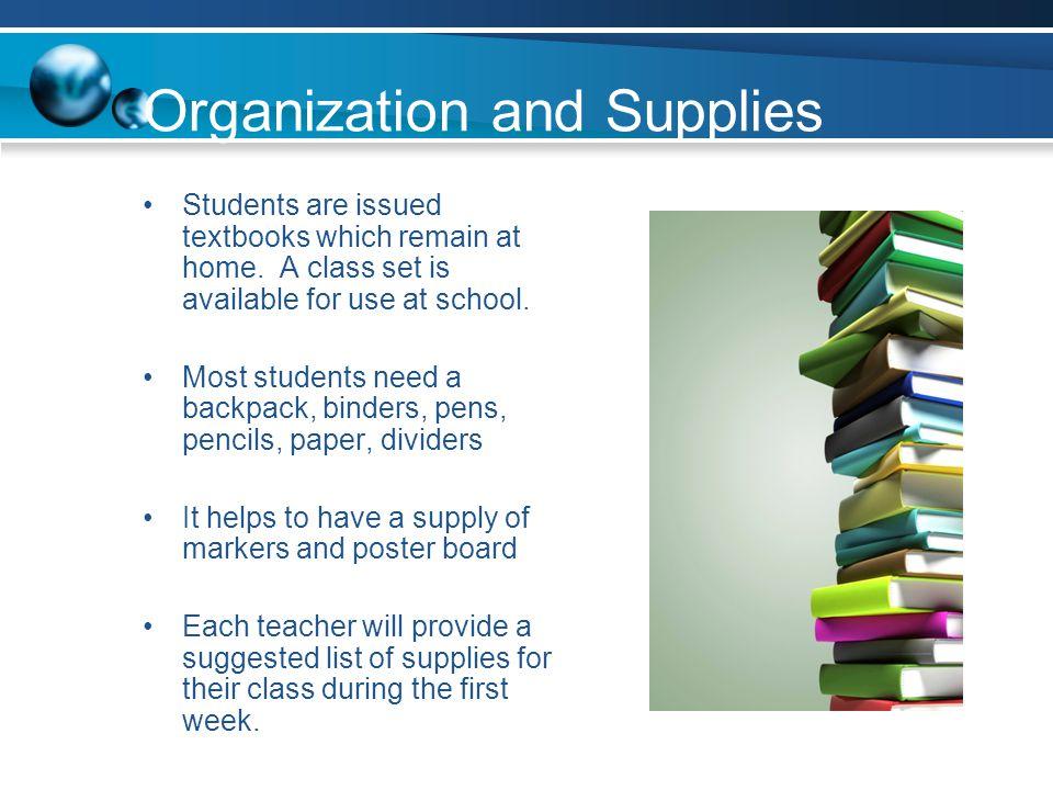 Organization and Supplies