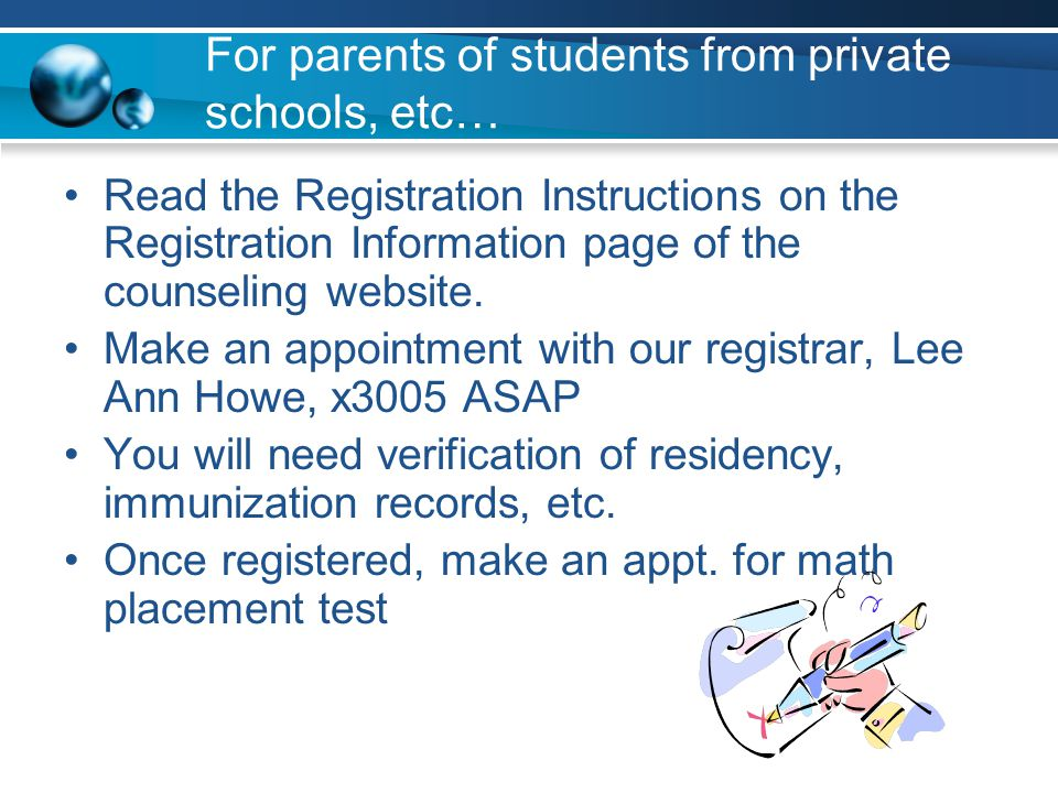 For parents of students from private schools, etc…