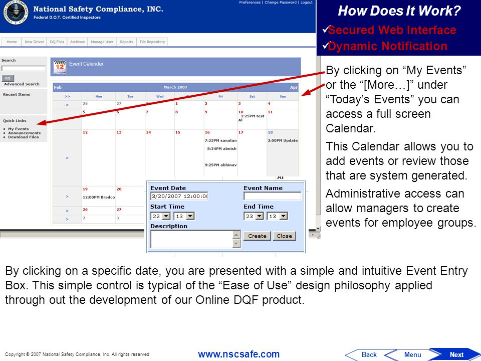 How Does It Work Secured Web Interface Dynamic Notification