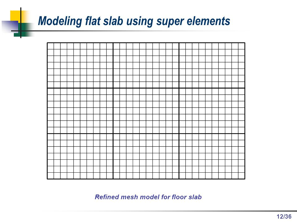 Refined mesh model for floor slab