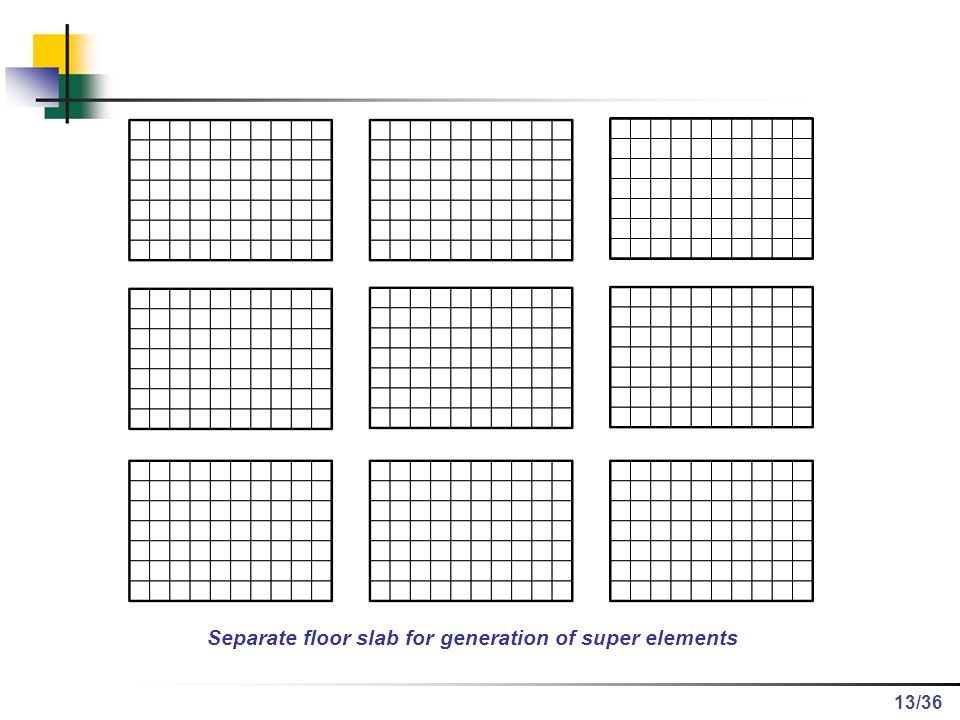 Separate floor slab for generation of super elements