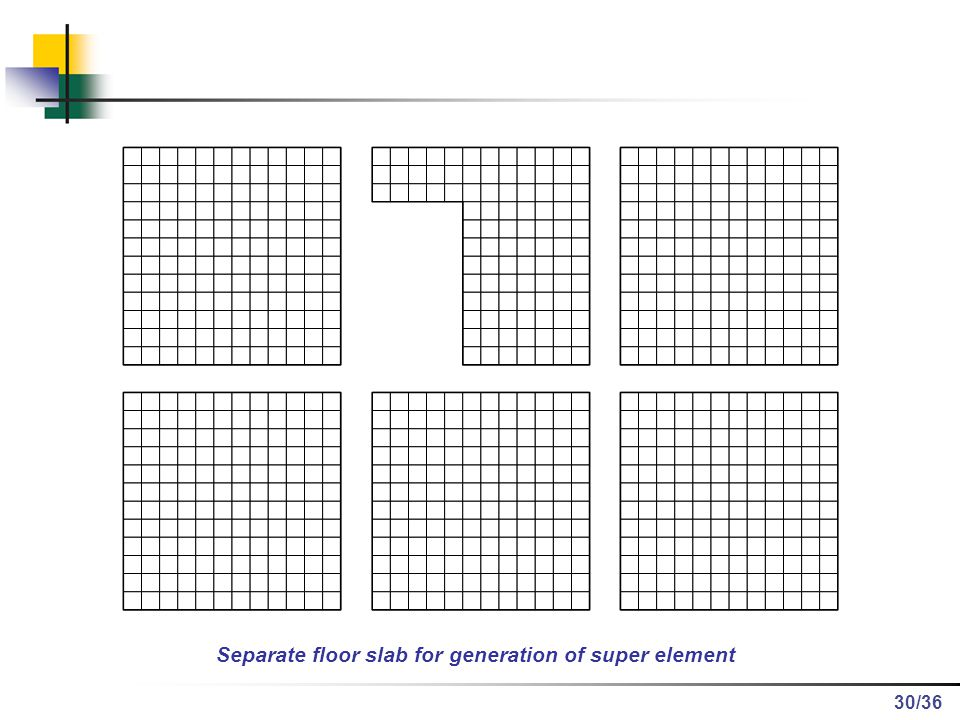Separate floor slab for generation of super element